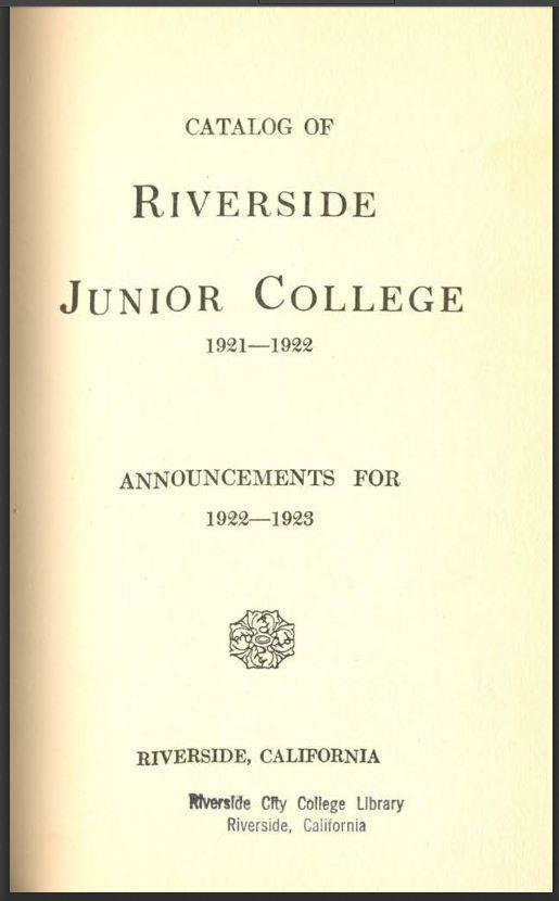 1922-1923 Riverside City College Catalog