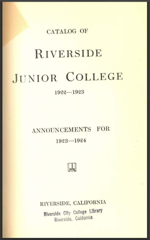 1923-1924 Riverside City College Catalog