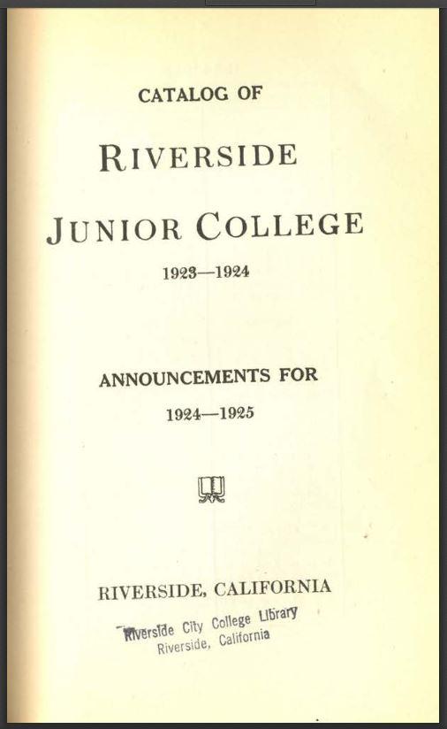 1924-1925 Riverside City College Catalog