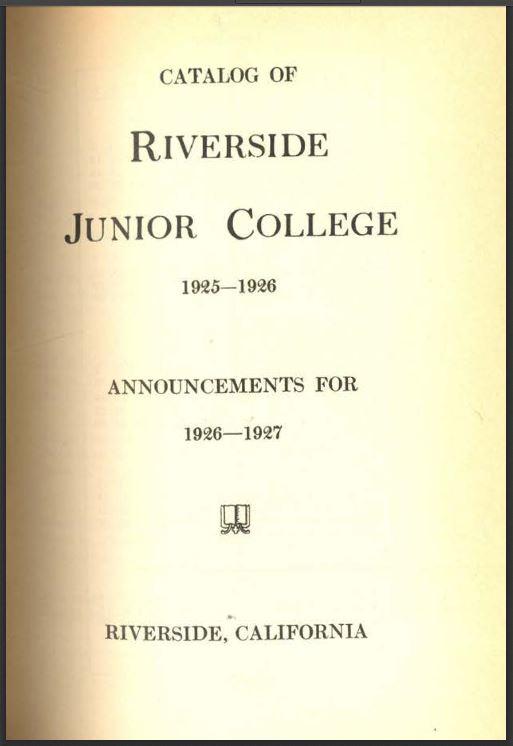 1926-1927 Riverside City College Catalog