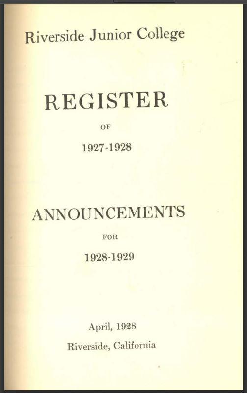 1927-1928 Riverside City College Catalog