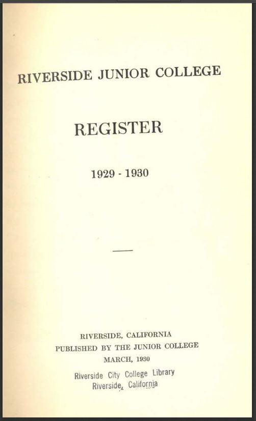 1929-1930 Riverside City College Catalog