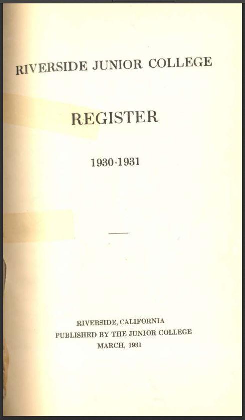 1930-1931 Riverside City College Catalog