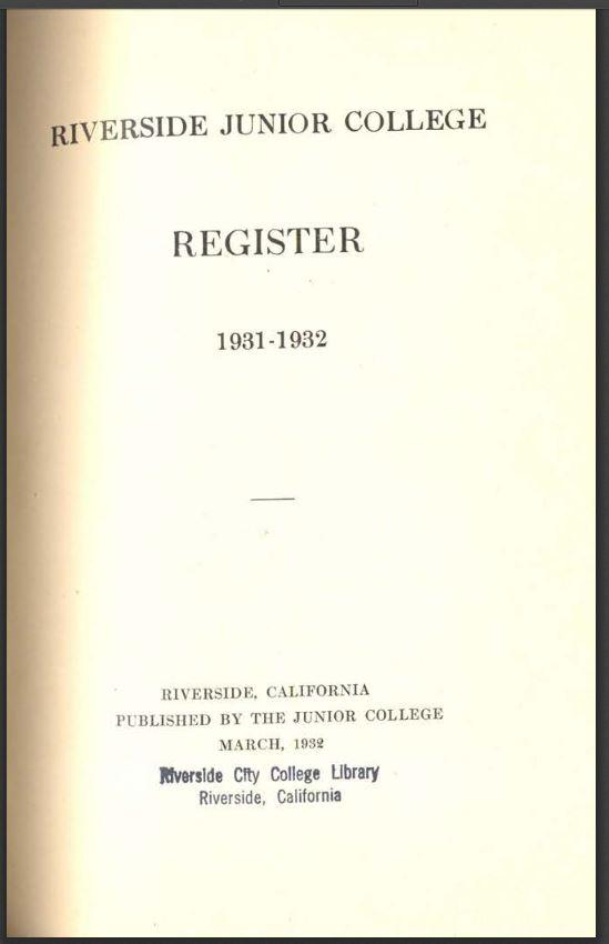1931-1932 Riverside City College Catalog