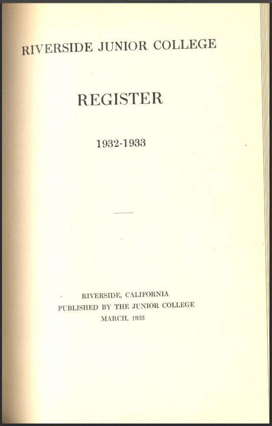 1932-1933 Riverside City College Catalog