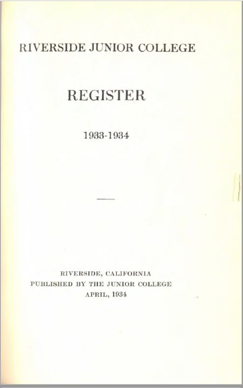 1933-1934 Riverside City College Catalog