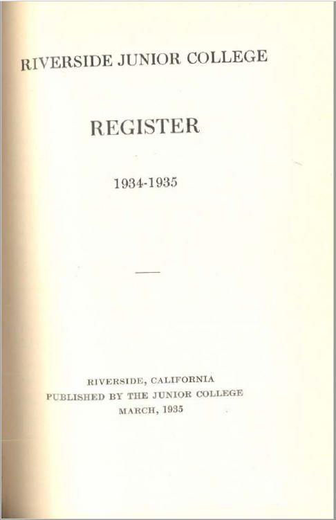 1934-1935 Riverside City College Catalog