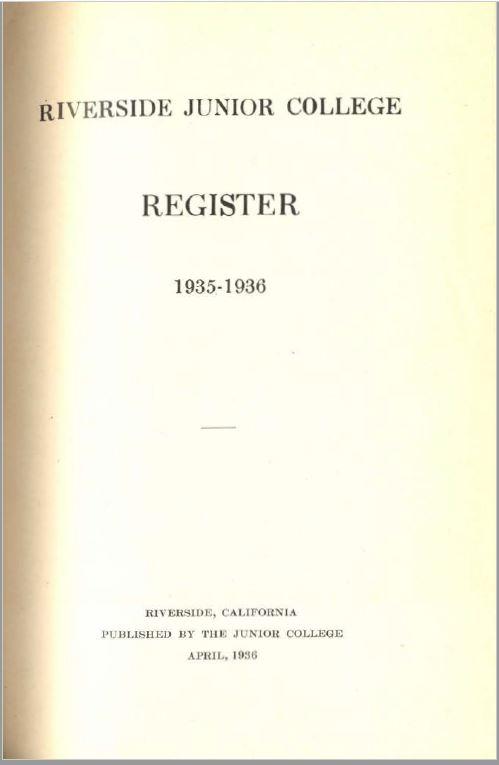 1935-1936 Riverside City College Catalog