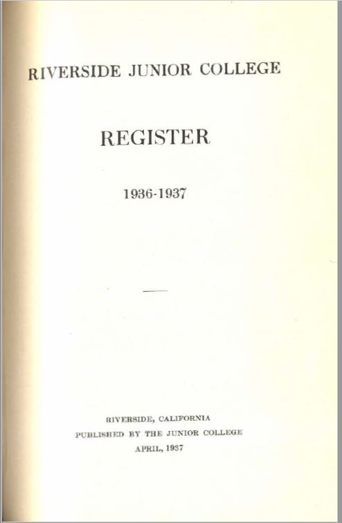 1936-37 Riverside City College Catalog