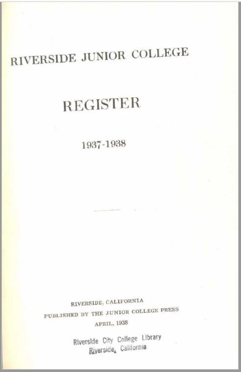 1937-1938 Riverside City College Catalog