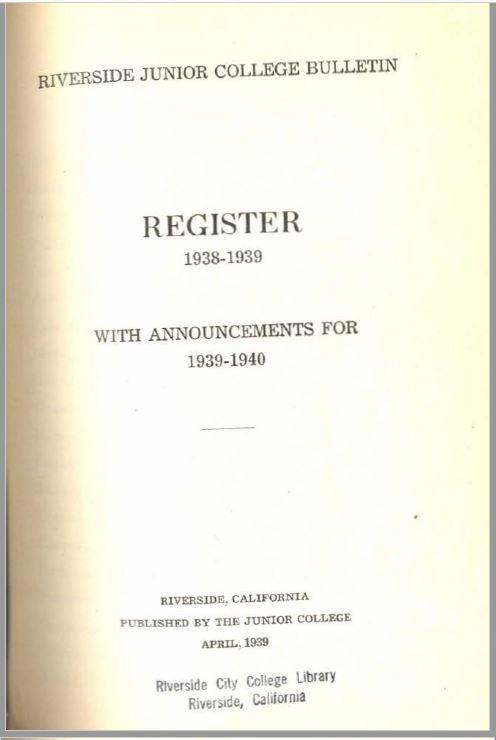 1939-1940 Riverside City College Catalog