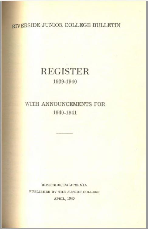 1940-1941 Riverside City College Catalog