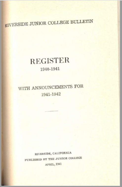 1941-1942 Riverside City College Catalog