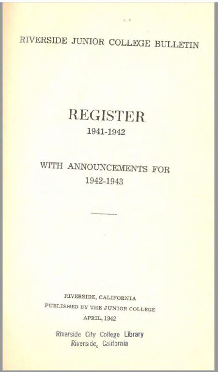 1942-1943 Riverside City College Catalog