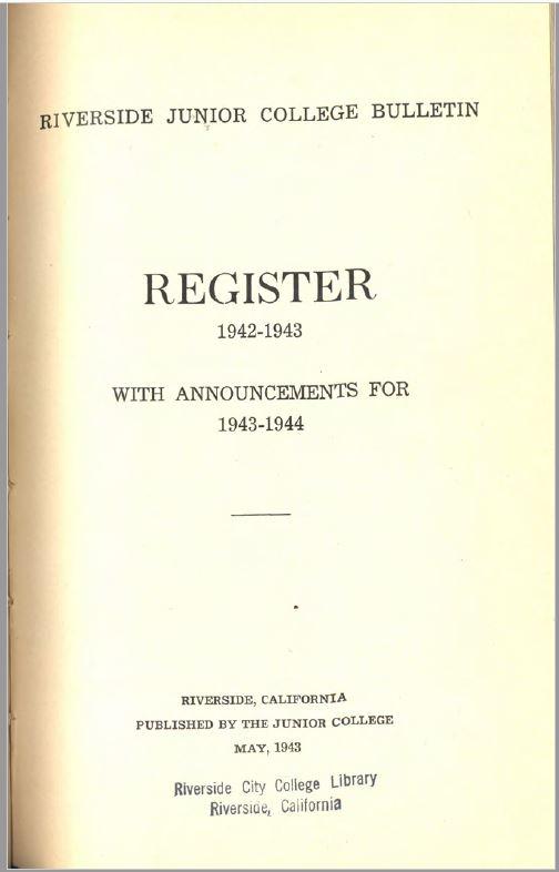 1943-1944 Riverside City College Catalog