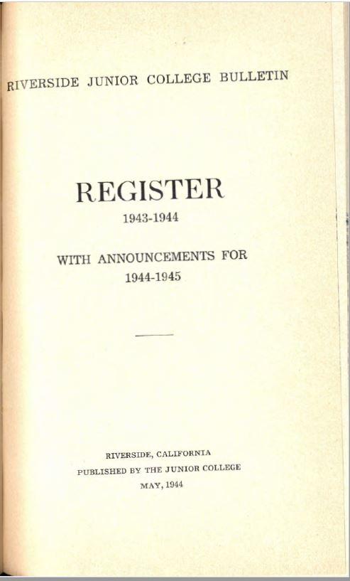 1944-1945 Riverside City College Catalog