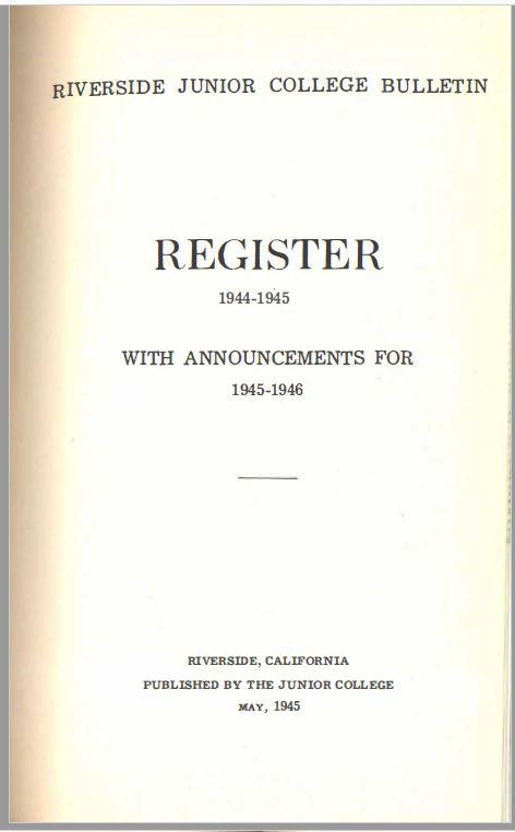1945-1946 Riverside City College Catalog