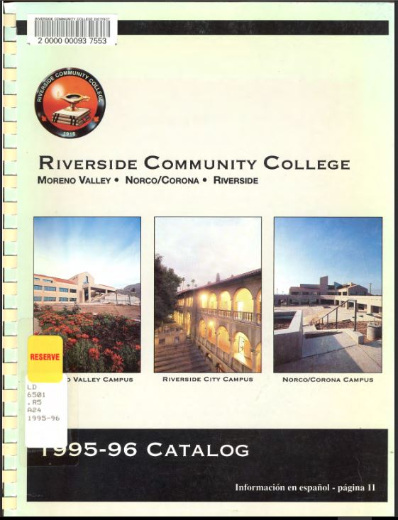 1995-1996 Riverside City College Catalog