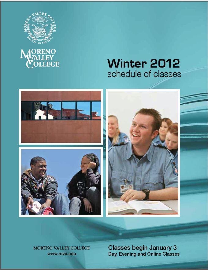 Riverside Community College District Schedule of Classes, Moreno Valley College, Winter 2012