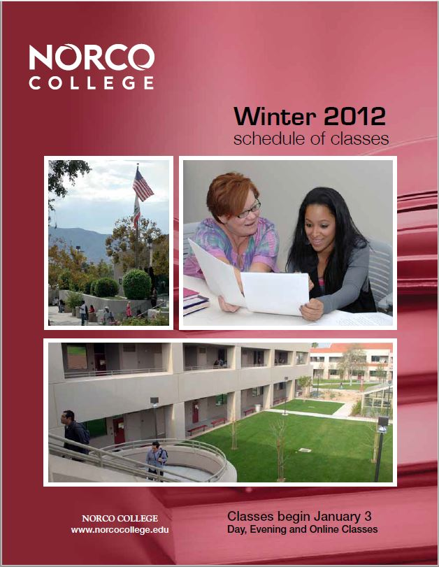 Riverside Community College District Schedule of Classes, Norco, Winter 2012