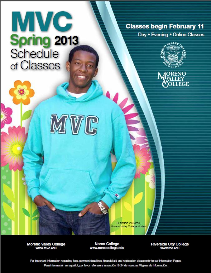Riverside Community College District Schedule of Classes, Moreno Valley College, Spring 2013