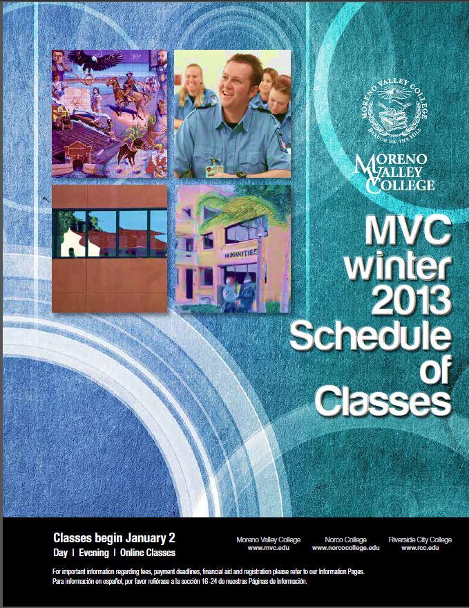 Riverside Community College District Schedule of Classes, Moreno Valley College, Winter 2013