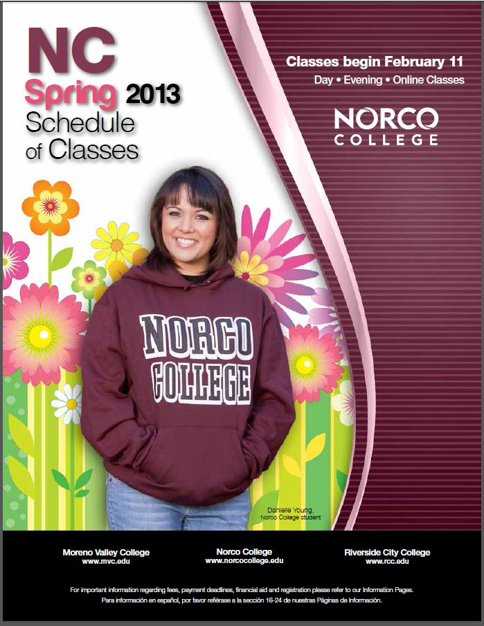 Riverside Community College District Schedule of Classes, Norco, Spring 2013