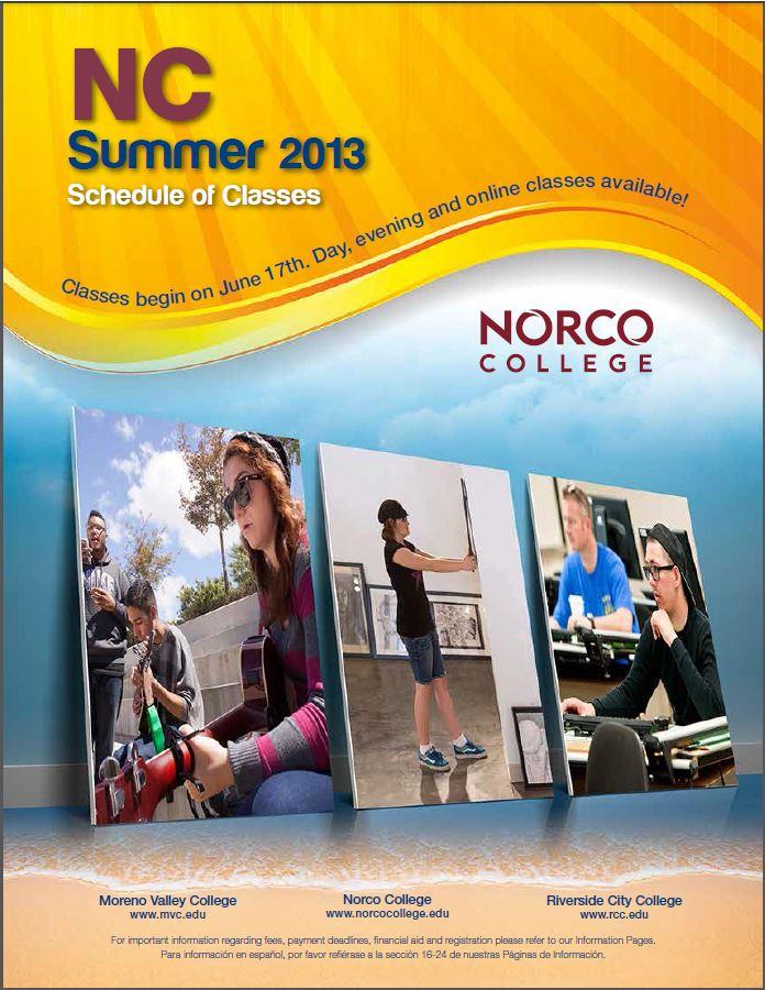Riverside Community College District Schedule of Classes Summer 2013