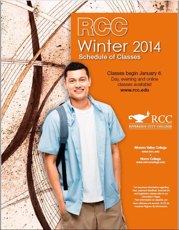 Riverside Community College District Schedule of Classes Winter 2014