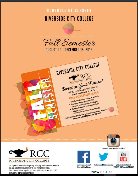 Riverside Community College District Schedule of Classes Fall 2016