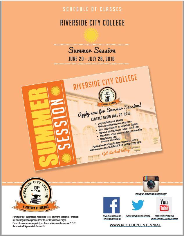 Riverside Community College District Schedule of Classes Summer 2016