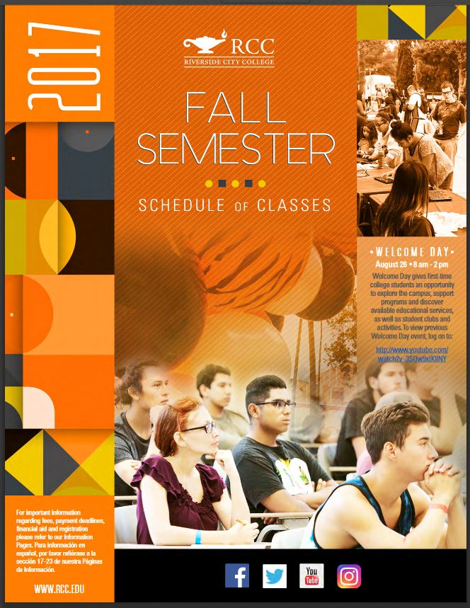 Riverside Community College District Schedule of Classes Fall 2017