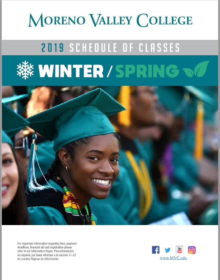 Riverside Community College District Schedule of Classes Winter and Spring 2018