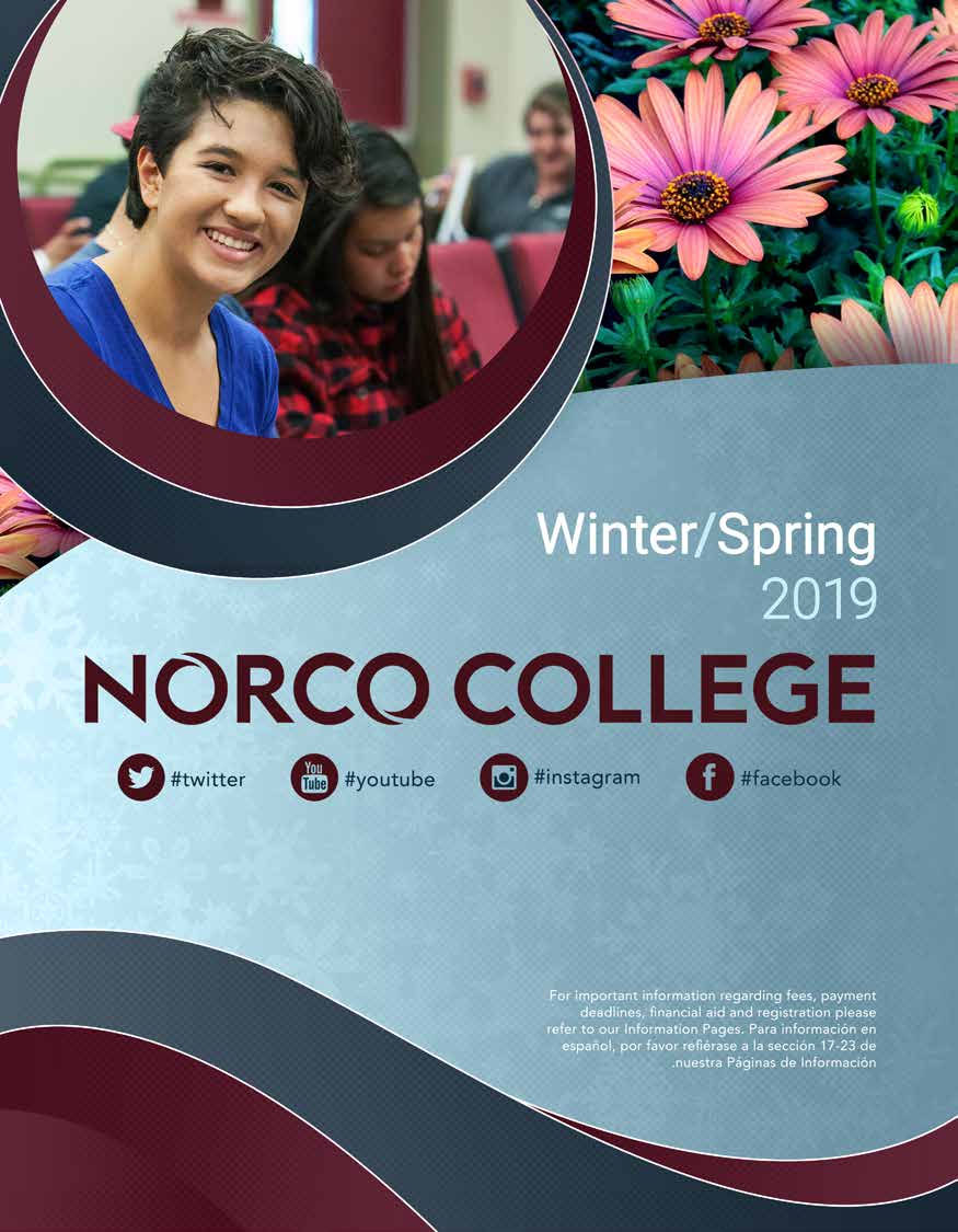 Riverside Community College District Schedule of Classes Winter and Spring2019