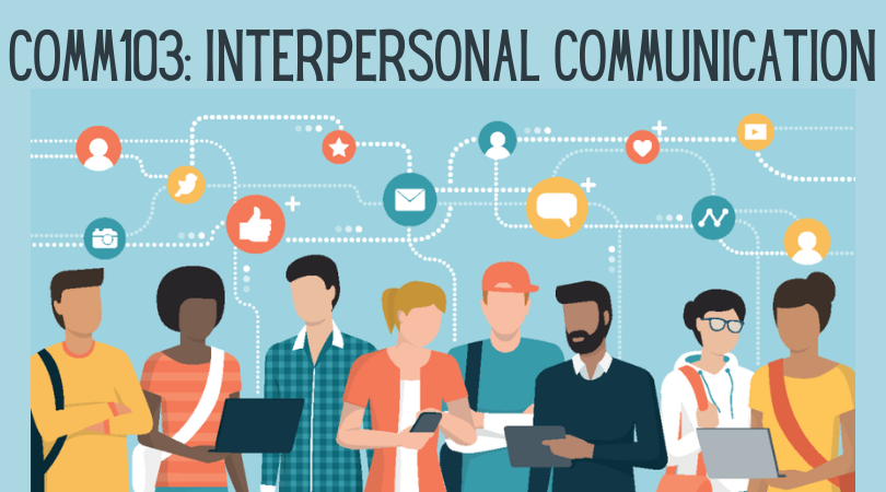 COMM103: Interpersonal Communication (graphic of people in conversation)