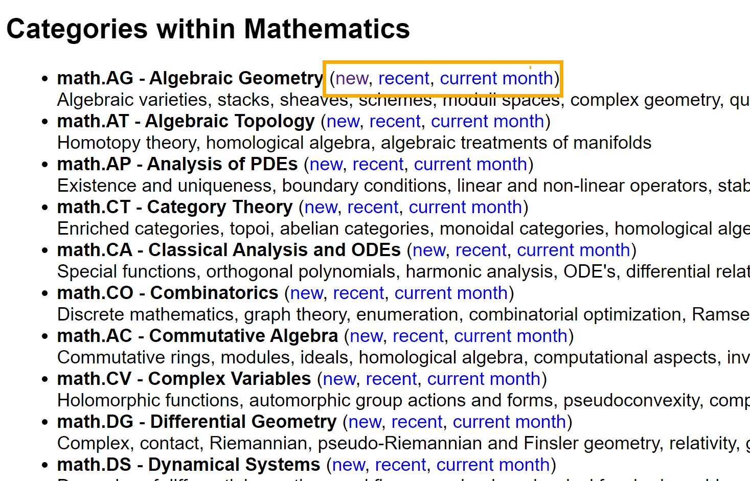 Screenshot of math categories