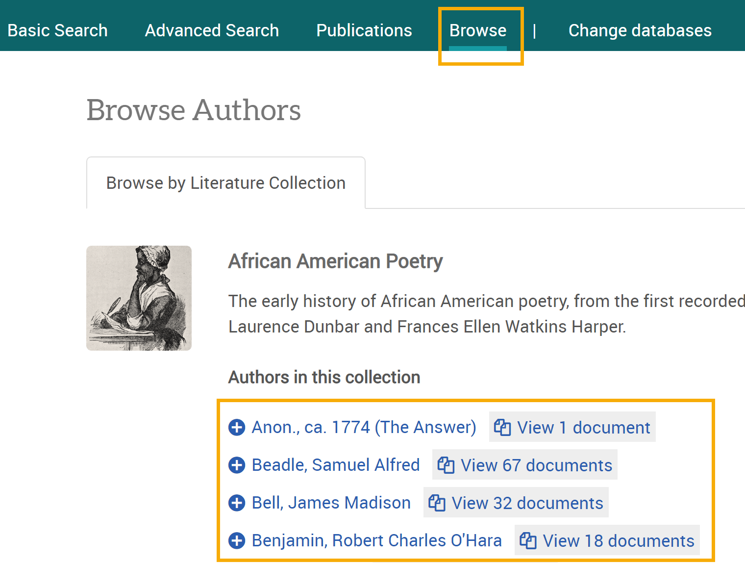 Screenshot of Browse Authors section