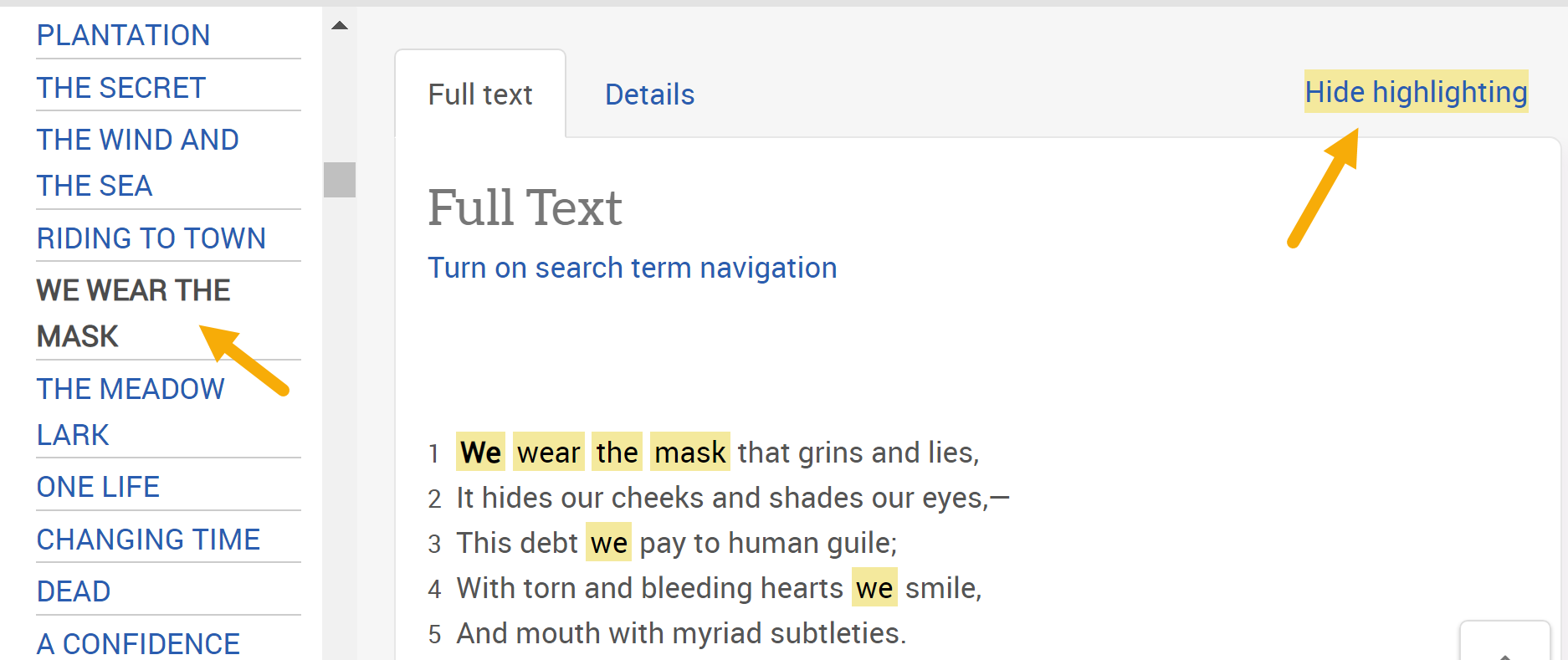 Screenshot of full-text of poem