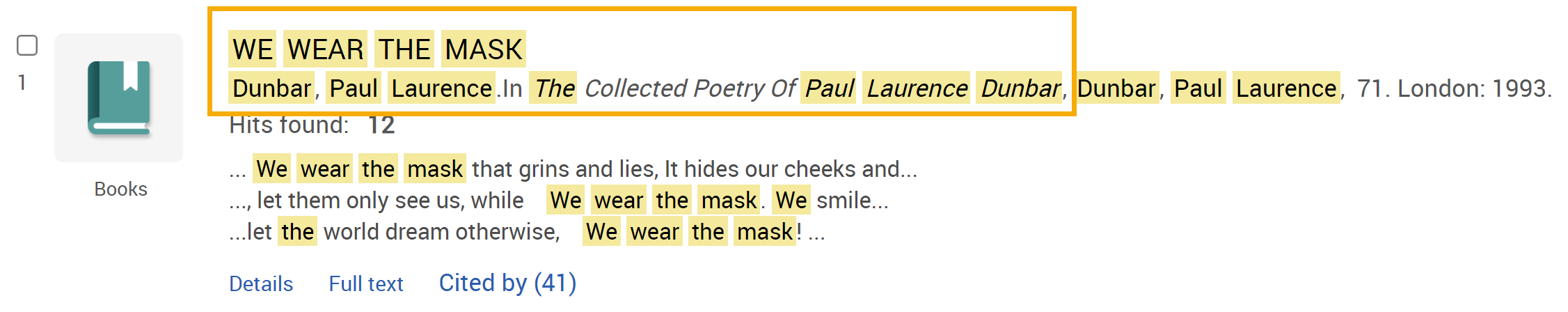 Search result screenshot - We Wear the Mask by Paul Laurence Dunbar