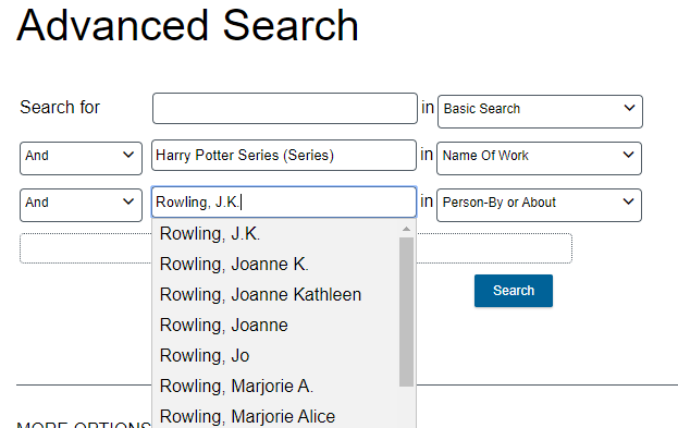 enter author name and pop-up menu appears with search options