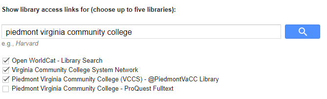 Select Piedmont Virginia Community College VCCS at PiedmontVaCC Library