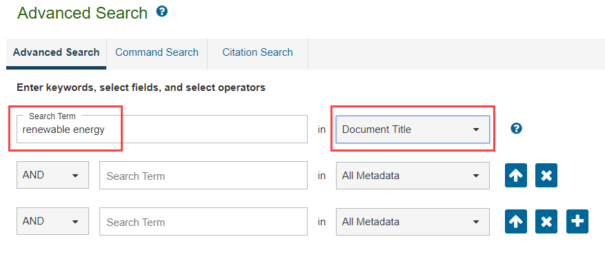 red boxes around search term and document title in drop down menu