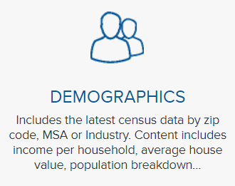 Screenshot of demographics button