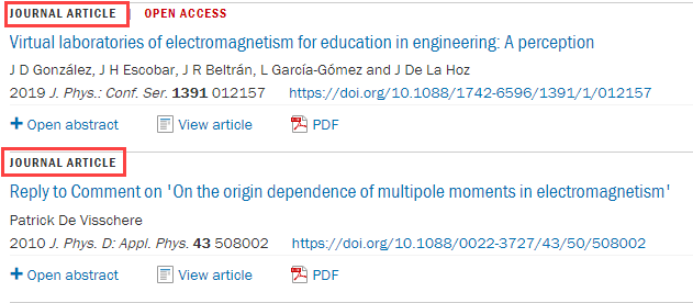 red boxes around journal article results