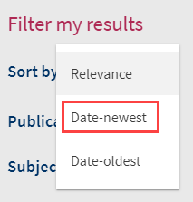 sort by date newest in filtered results