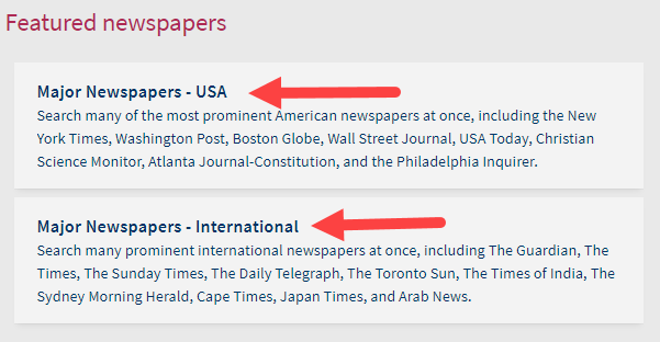 click either USA or international major newspapers
