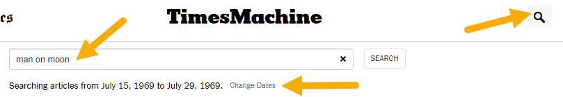 """Search button, query """"man on moon"""", and change dates"""