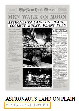 "Front page screenshot of ""Men Walk on Moon"""