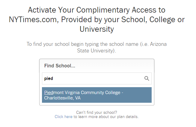 Screenshot of search for school