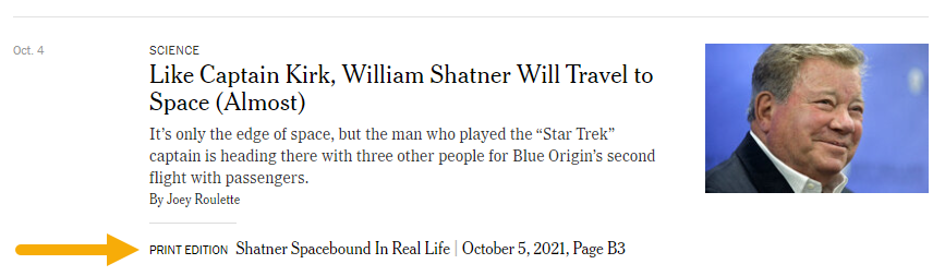 Article screenshot - Like Captain Kirk, William Shatner will travel to space (almost) and the print edition title is Shatner spacebound in real life
